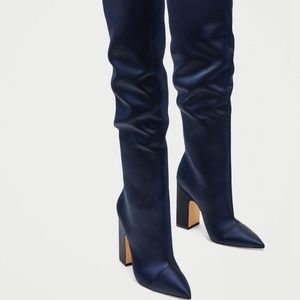 NWT ZAZA OVER THE KNEES SATIN BLUE BOOTS